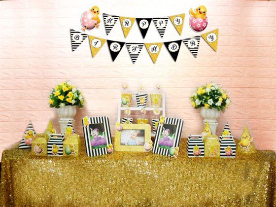 Set phụ kiện sinh nhật bé gái tuổi gà màu đen kim tuyến