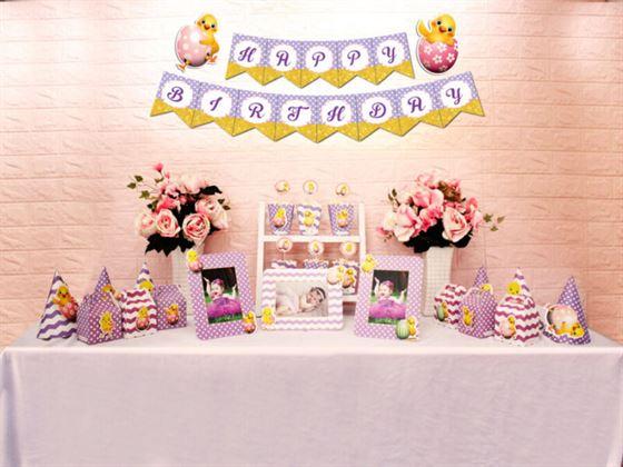 Set phụ kiện sinh nhật bé gái tuổi gà màu tím chấm bi