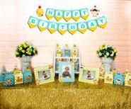 Set phụ kiện sinh nhật bé trai tuổi gà màu xanh min vàng