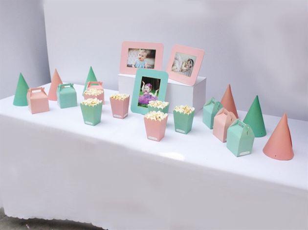 Set phụ kiện sinh nhật cho bé gái màu hồng xanh min