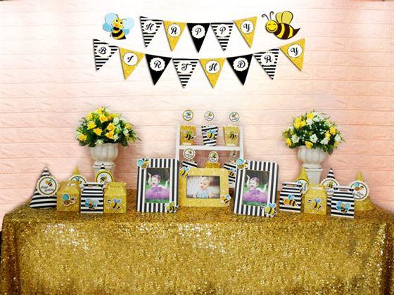 Set mini bé ong màu đen kim tuyến