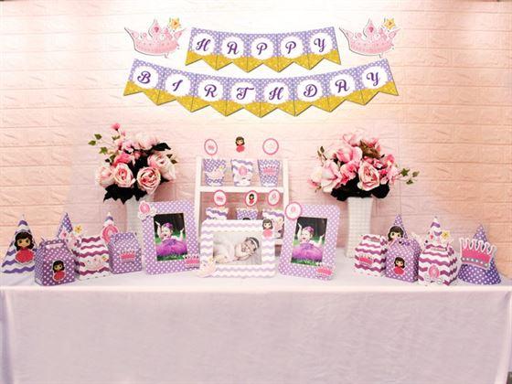 Set mini công chúa màu tím chấm bi