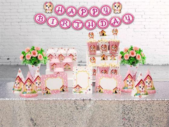 Set trang trí sinh nhật bé gái tuổi chó