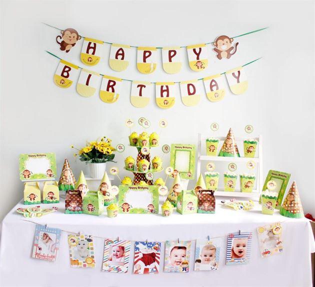Bộ phụ kiện sinh nhật bé trai Tuổi Khỉ - Trang Trí Sinh Nhật Kool Style