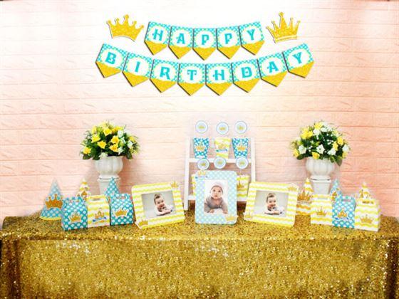 Set mini vương miện bé trai màu xanh min vàng