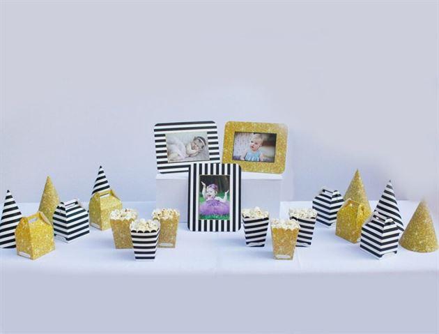 Set phụ kiện trang trí sinh nhật màu đen kim tuyến