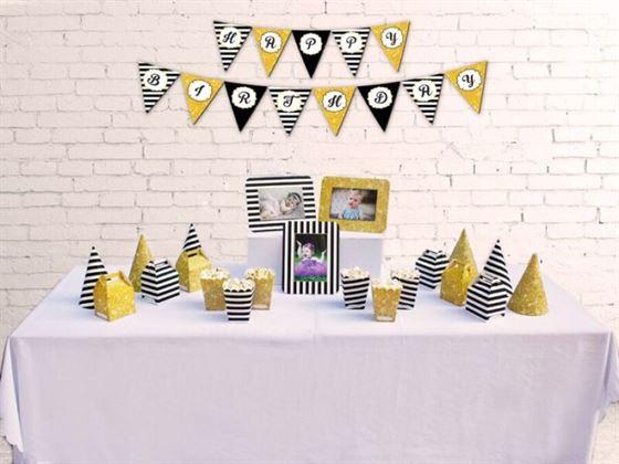 Set phụ kiện sinh nhật màu đen kim tuyến