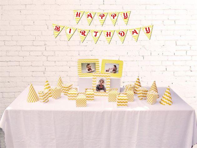 Set phụ kiện sinh nhật màu vàng zigzag
