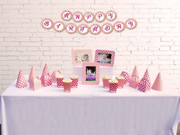 Set phụ kiện sinh nhật màu hồng lưới