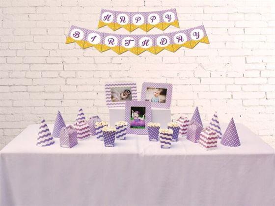 Set phụ kiện sinh nhật màu tím chấm bi
