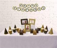 Set phụ kiện sinh nhật màu vàng đen