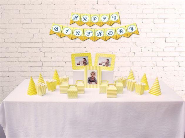 Set phụ kiện sinh nhật màu vàng hoàng gia