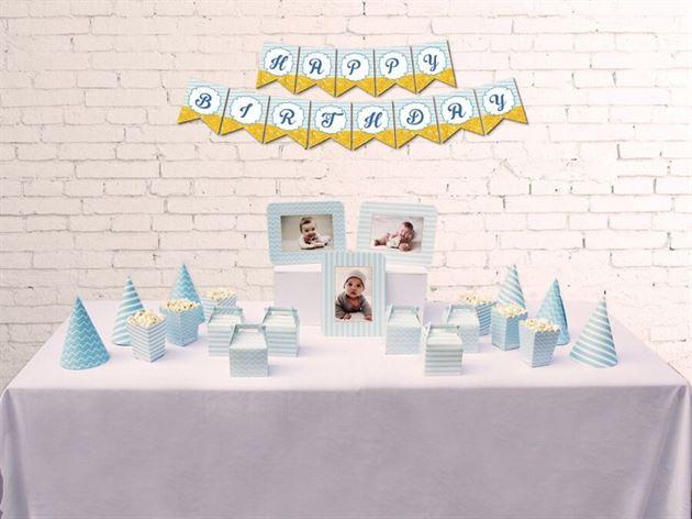 Set phụ kiện sinh nhật màu xanh da trời