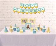 Set phụ kiện sinh nhật màu xanh min vàng