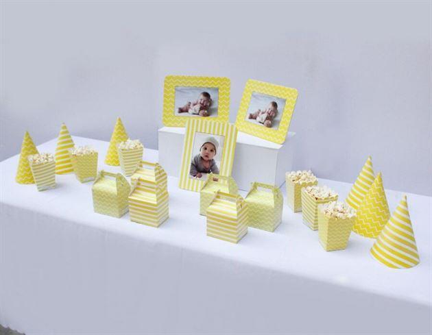 Set trang trí sinh nhật màu vàng hoàng gia
