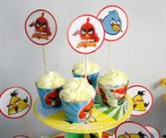 Tem bánh cupcake sinh nhật Angry Birds