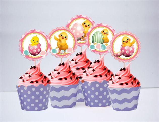 Tem bánh cupcake bé gái tuổi gà màu tím chấm bi