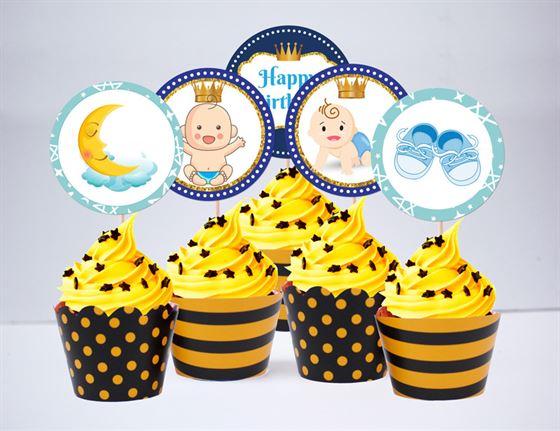Tem bánh cupake baby boy màu vàng đen
