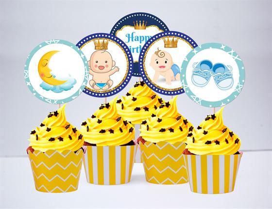 Tem bánh cupake baby boy màu vàng hoàng gia