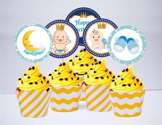 Tem bánh cupake baby boy màu vàng zigzag