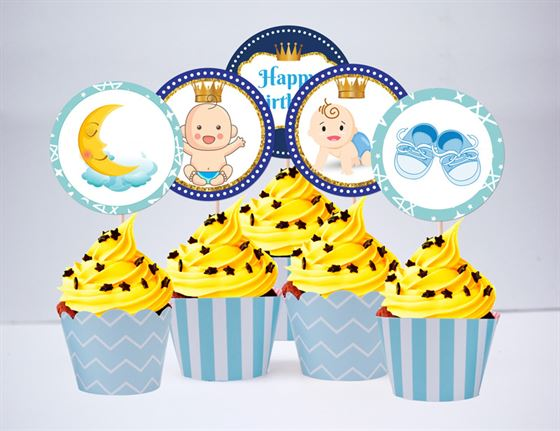 Tem bánh cupake baby boy màu xanh da trời
