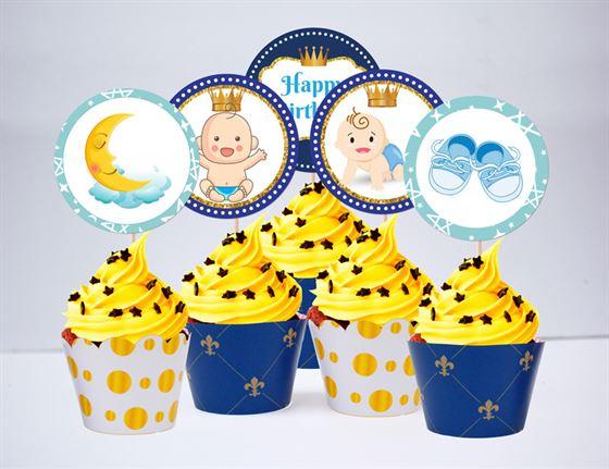 Tem bánh cupake baby boy màu xanh hoàng gia