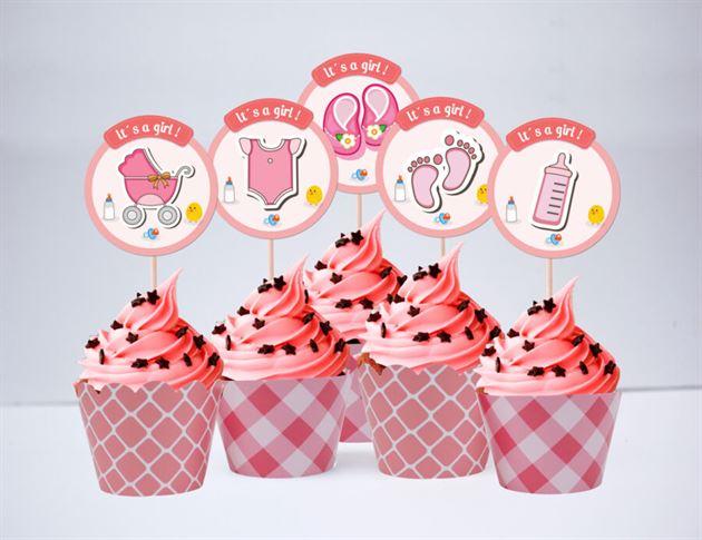 Tem bánh cupcake baby girl màu hồng lưới