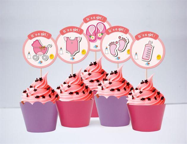 Tem bánh cupcake baby girl