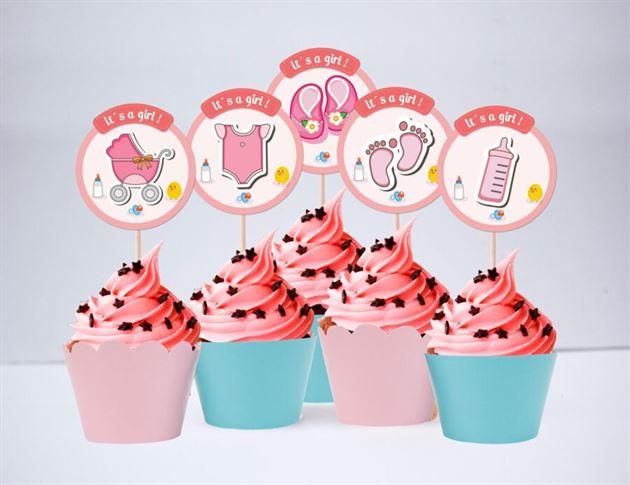 Tem bánh cupcake baby girl màu hồng xanh min
