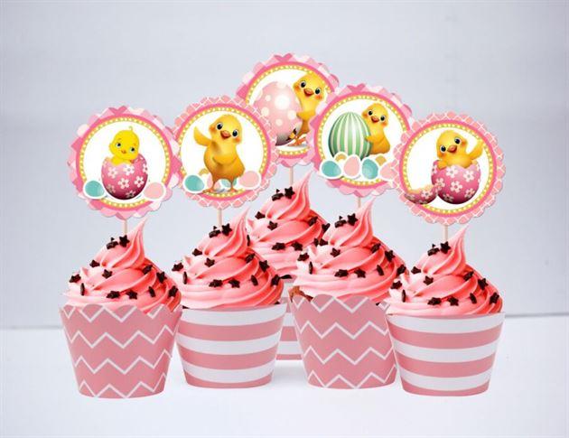 Tem bánh cupcake bé gái tuổi gà màu hồng hoàng gia