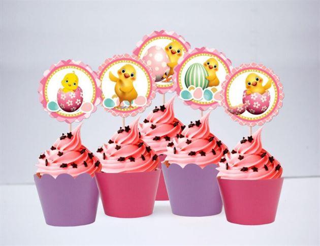 Tem bánh cupcake bé gái tuổi gà màu hồng tím