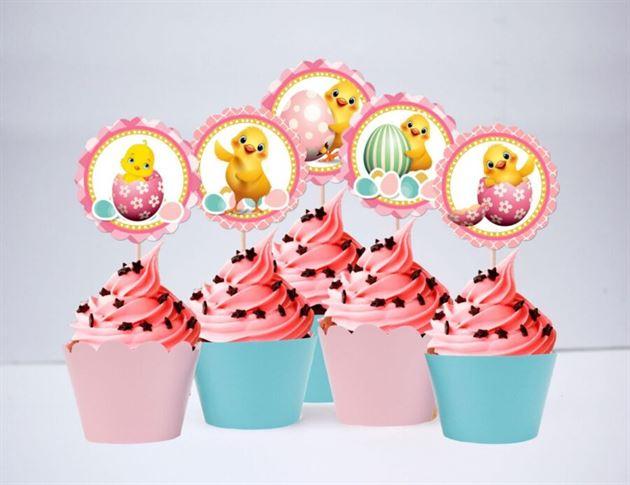 Tem bánh cupcake bé gái tuổi gà màu hồng xanh min
