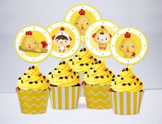 Tem bánh cupcake be trai tuổi gà màu vàng hoàng gia