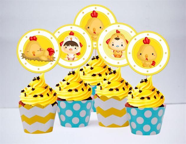 Tem bánh cupake bé trai tuổi gà màu vàng xanh min
