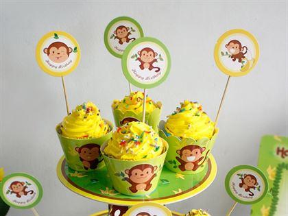 Tem bánh cupcake bé trai chủ đề tuổi khỉ