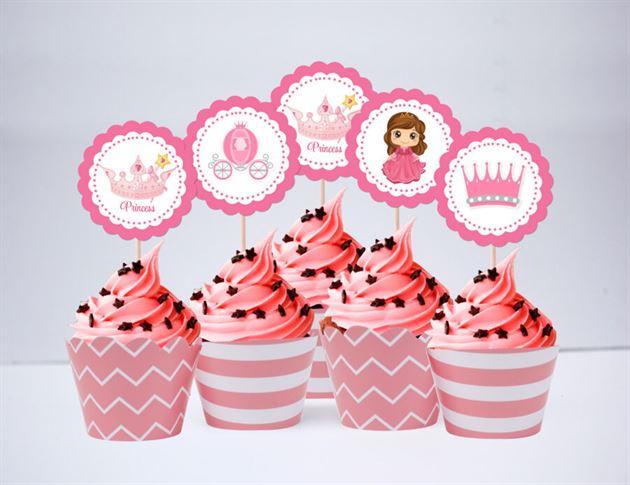 Tem bánh cupcake Công Chúa màu hồng hoàng gia