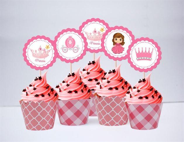 Tem bánh cupcake Công Chúa màu hồng lưới