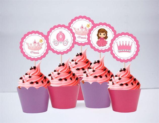 Tem bánh cupcake Công Chúa màu hồng tím