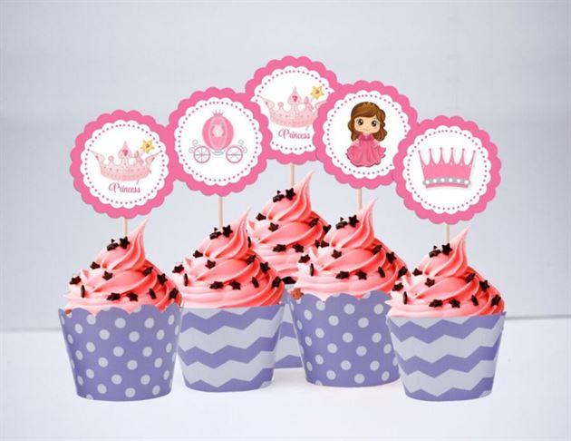 Tem bánh cupcake Công Chúa màu tím chấm bi