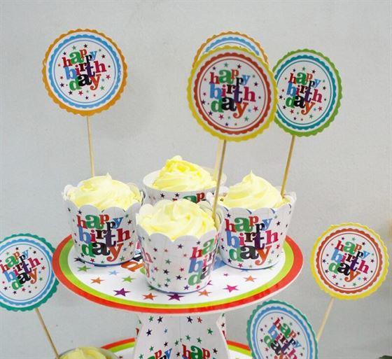 Tem Bánh Cupcake Happy Birthday