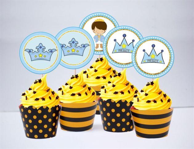 Tem bánh cupake Hoàng Tử màu vàng đen