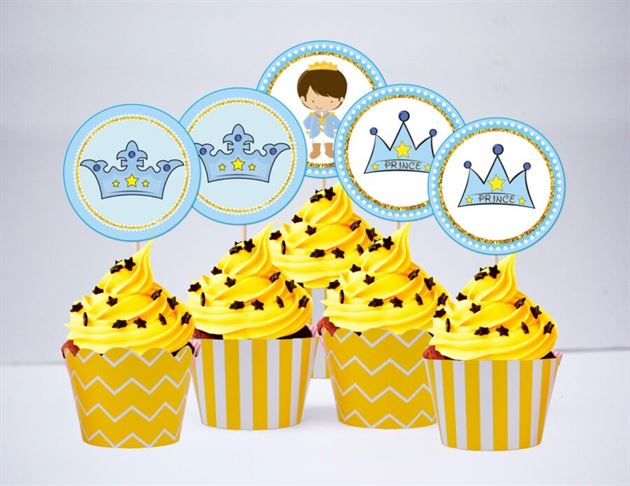Tem bánh cupake Hoàng Tử màu vàng hoàng gia