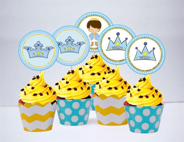 Tem bánh cupake Hoàng Tử màu vàng xanh min