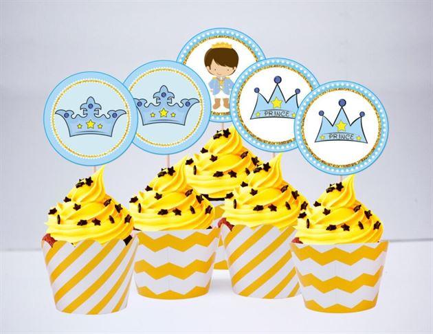 Tem bánh cupake Hoàng Tử màu vàng zigzag