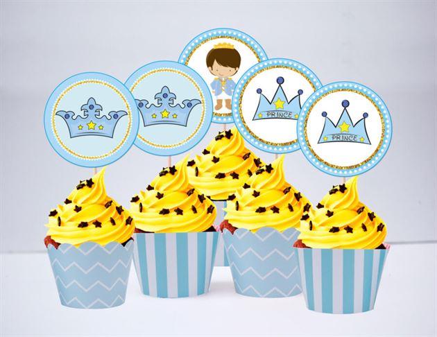 Tem bánh cupake Hoàng Tử màu xanh da trời