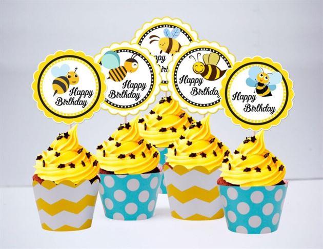 Term bánh cupake Bé Ong màu vàng xanh min
