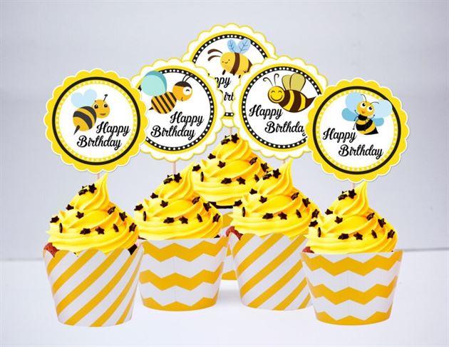 Term bánh cupake Bé Ong màu vàng zigzag