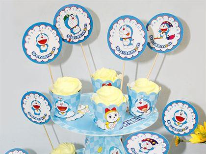 Tem bánh cupcake chủ đề doraemon