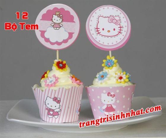 Tem Bánh Cupcake Kitty