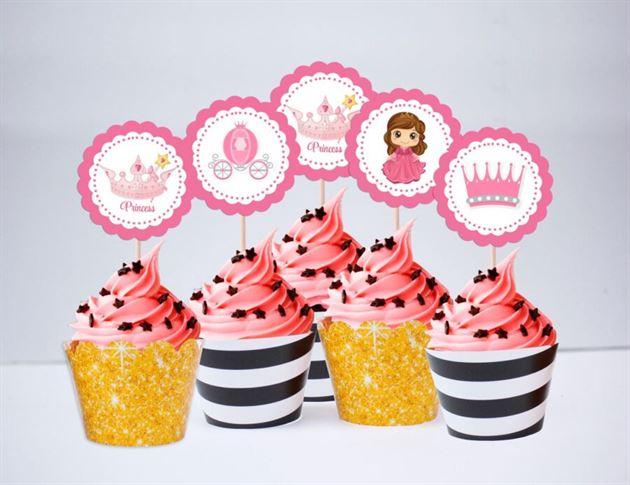 Tem bánh cupcake Vương Miện Công Chúa màu đen kim tuyến
